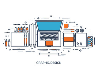 Vector illustration. Study and education. Lined flat style. Knowledge,information. School learning process.Online courses.