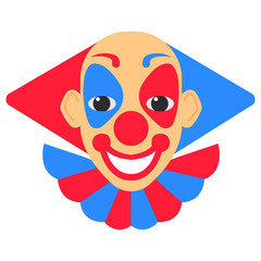 Clown smile vector cartoon with red and blue hair and makeup.