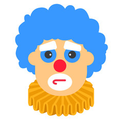 Clown sad vector cartoon with blue hair and yellow collar.