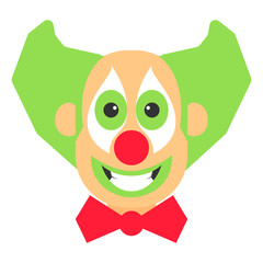 Clown crazy vector cartoon with green hair and red bow.