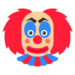 Clown smile vector cartoon with red hair and blue makeup.