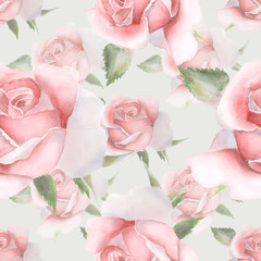 Pink watercolor roses. Seamless pattern