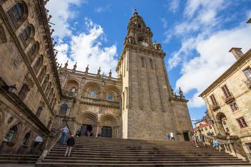 SANTIAGO DE COMPOSTELA, GALICIA, SPAIN - JUNE  14, 2016 - Cathedral of Santiago de Compostela on 14 JUNE 2016 in Santiago de Compostela, Spain. Europe