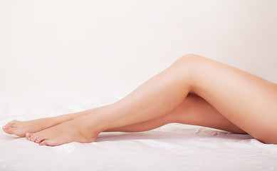 Beautiful Soft Skin. Closeup Of Long Woman Legs With Perfect Hairless Smooth And Silky Skin. Hair Removal, Beauty Body Care Concepts