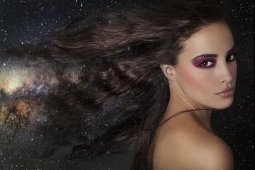 beautiful fantasy woman among stars