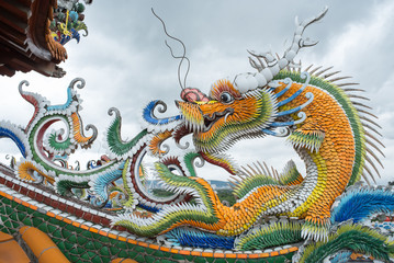 Dragon statue at Guandu Temple in Taipei, Taiwan