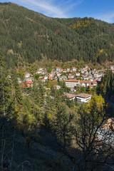 Panorama of town of Shiroka Laka and Rhodope Mountains, Smolyan Region, Bulgaria