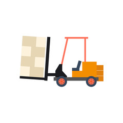 Transport flat forklift icon isolated on white. Vector