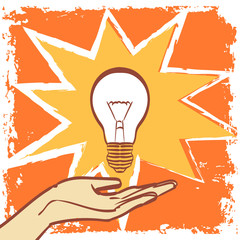 Light bulb vector in pop art hipster vintage style. Eps 10 on layers for you comfort