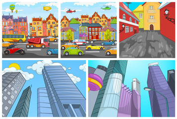 Vector cartoon set of city backgrounds.