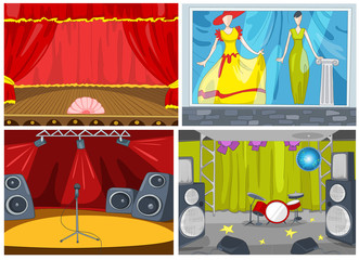 Vector cartoon set of theater and disco background