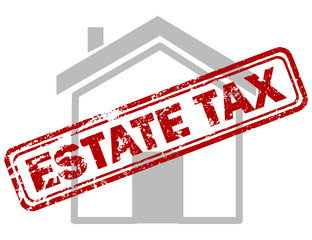 Red estate tax rubber stamp on grey house or building icon