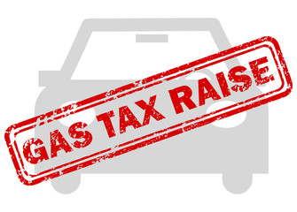 Red gas tax raise rubber stamp on grey car icon
