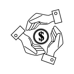 hands save the money dollar icon vector illustration eps 10