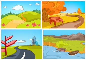Vector cartoon set of summer, autumn backgrounds.