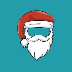 mustache beard hat santa claus vector illustration eps 10