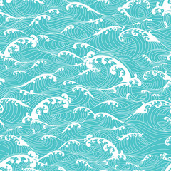 Ocean waves, stripes pattern seamless hand drawn Asian style