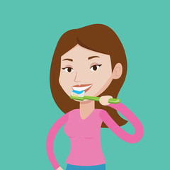 Woman brushing her teeth vector illustration.