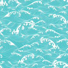 Whale swimming in the ocean waves, pattern seamless background
