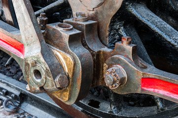 Detail of old steam train,mechanic close up