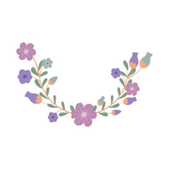 beautiful blue and purple flowers with  leaves over white background. vector illustration