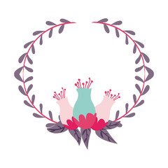 beautiful  flowers with leaves wreath decoration icon over white background. vector illustration