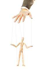 One person controls the other like a puppet. Concept of manipulation and dependence