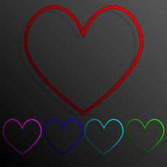 Color set heart banners frame template for design.
