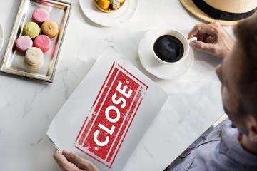 Close Sign Stamp Concept