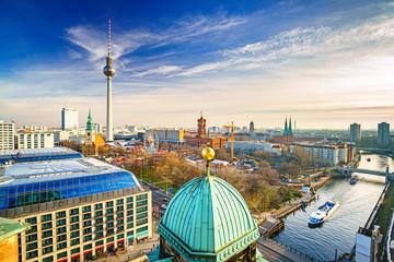 In de dag Berlijn Aerial view on Alexanderplatz and Spree river, Berlin, Germany