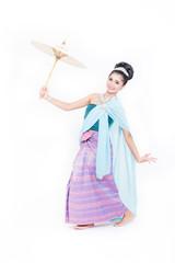Asian woman wearing typical Thai dress.