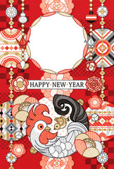 2017年酉年完成年賀状テンプレート「まんまるまるまり写真フレーム 」HAPPY_NEW_YEAR