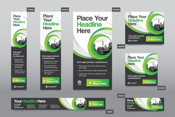 Green Color Scheme with City Background Corporate Web Banner Template in multiple sizes. Easy to adapt to Brochure, Annual Report, Magazine, Poster, Corporate Advertising Media, Flyer, Website.