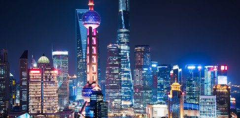 Wall Murals Shanghai Shanghai Skyline at Night in China.