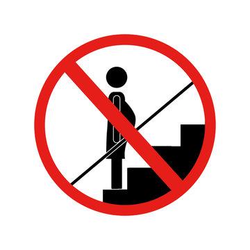 forbidden warning sign down stairs vector illustration
