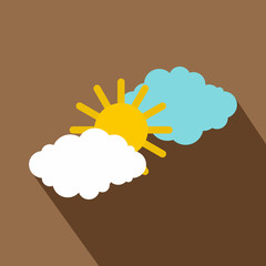 Sun and clouds icon. Flat illustration of sun and clouds vector icon for web isolated on coffee background
