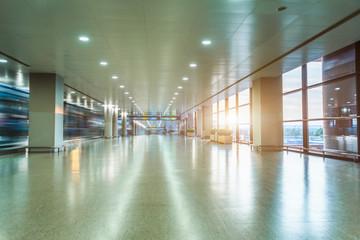 Empty Corridor Of modern airport in Shanghai,China.