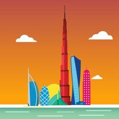 Dubai City skyline detailed silhouette. Vector illustration