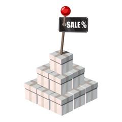 Box shopping for sale icon. Cartoon illustration of box shopping for sale vector icon for web