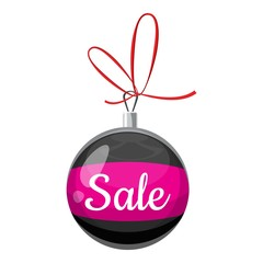 Christmas ball with sale icon. Cartoon illustration of christmas ball with sale vector icon for web