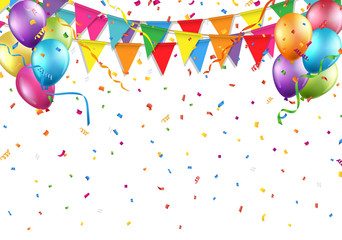 Festive background with party flag, balloon, confetti, and streamer Vector