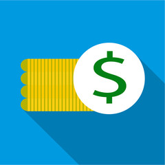 Coins icon. Flat illustration of coins vector icon for web