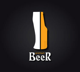 Creative design  with beer bottle and beer glass. Vector