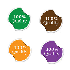 100 Percent quality, round stickers
