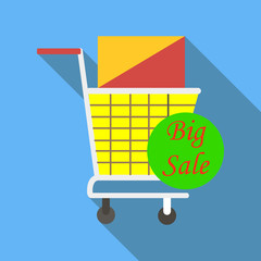 Cart on wheels with shopping on sale icon. Flat illustration of cart on wheels with shopping on sale vector icon for web
