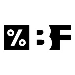 Letters BF black friday and percentage icon. Simple illustration of letters BF black friday and percentage vector icon for web