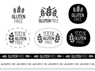 vector gluten free sign set