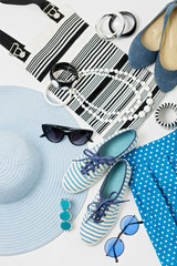 Fashion accessories in black and white and blue colors - hat clo