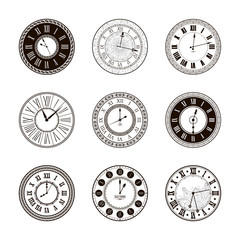 Vector vintage clock dials set