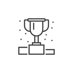 Winner podium line icon, first place cup outline vector logo illustration, linear pictogram isolated on white
